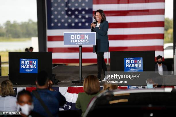 Democratic U.S. Vice Presidential nominee Sen. Kamala Harris greets her supporters before giving a speech during an early voting mobilization event...