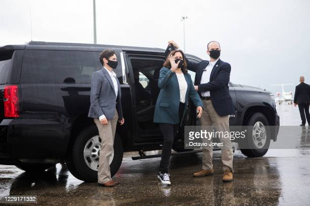Democratic U.S. Vice Presidential nominee Sen. Kamala Harris prepares to board her airplane at the Orlando International Airport after speaking at an...