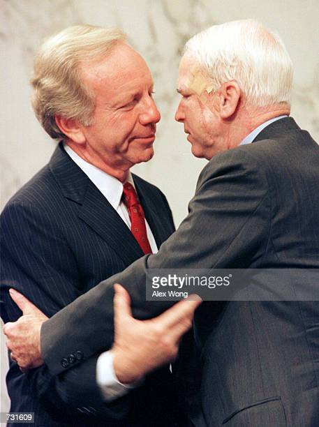 Democratic Vice Presidential Candidate Joseph Lieberman left bids farewell to Sen John McCain after he testified before the Senate Commerce Committee...