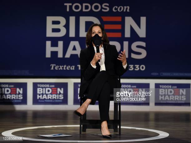 Democratic vice presidential candidate Kamala Harris speaks during a conversation with Latino leaders and elected officials at Taller Puertorriqueno...