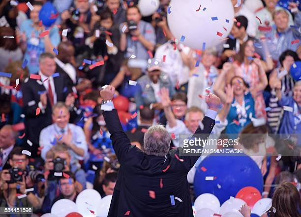 Democratic vice presidential candidate Tim Kaine acknowledges the crowd at the end of the fourth and final day of the Democratic National Convention...