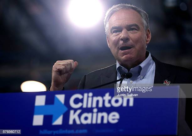 Democratic vice presidential candidate US Sen Tim Kaine speaks during a campaign rally with Democratic presidential candidate former Secretary of...
