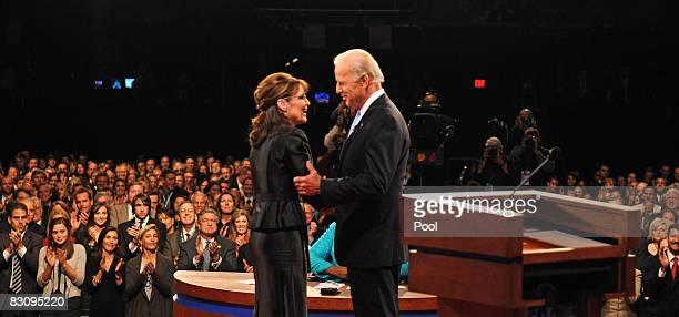 Democratic vice presidential candidate US Senator Joe Biden and Republican vice presidential candidate Alaska Gov Sarah Palin greet each other at the...