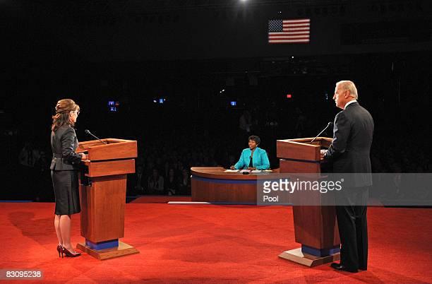 Democratic vice presidential candidate US Senator Joe Biden and Republican vice presidential candidate Alaska Gov Sarah Palin face PBS journalist and...