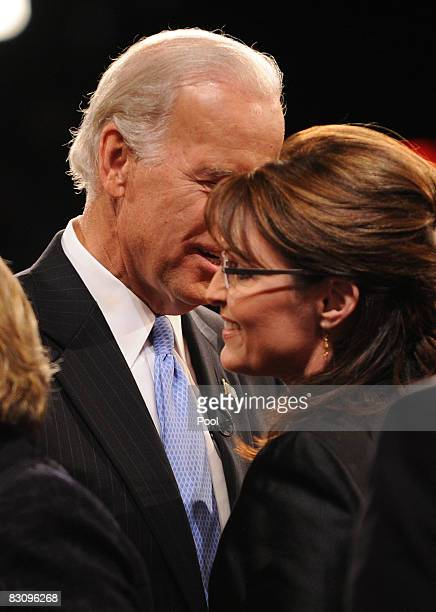 Democratic vice presidential candidate US Senator Joe Biden greets Republican vice presidential candidate Alaska Gov Sarah Palin after the vice...
