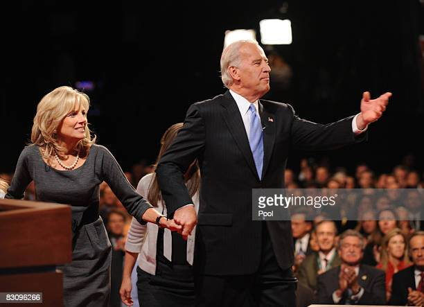 Democratic vice presidential candidate US Senator Joe Biden is joined by his wife Jill after the vice presidential debate with Republican vice...