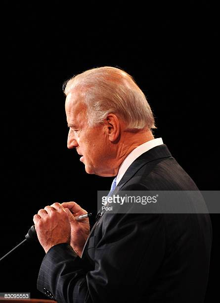 Democratic vice presidential candidate US Senator Joe Biden speaks during the vice presidential debate with his Republican opponent at the Field...