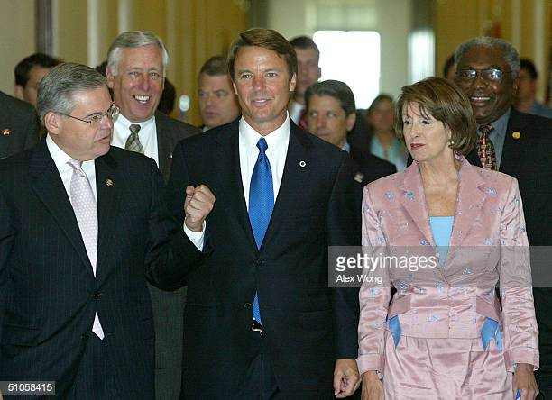Democratic Vice Presidential Candidate US Senator John Edwards walks with Rep Bob Menendez House Minority Whip Rep Steny Hoyer House Minority Leader...