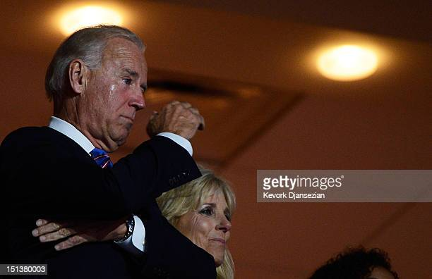 Democratic vice presidential candidate, U.S. Vice President Joe Biden and his wife Second lady Dr. Jill Biden watch as their son Attorney General of...