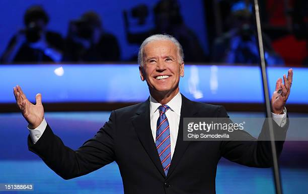 Democratic vice presidential candidate US Vice President Joe Biden walks on stage during the final day of the Democratic National Convention at Time...