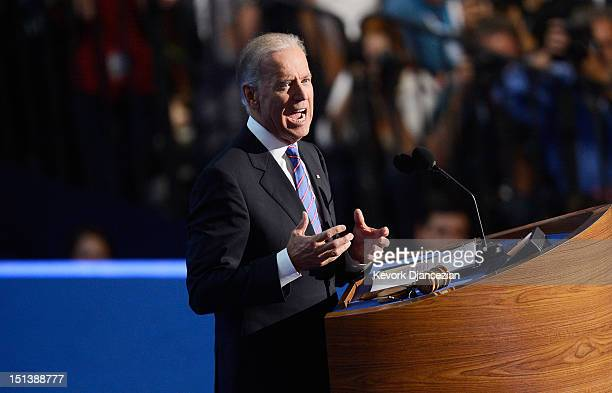 Democratic vice presidential candidate US Vice President Joe Biden speaks on stage during the final day of the Democratic National Convention at Time...