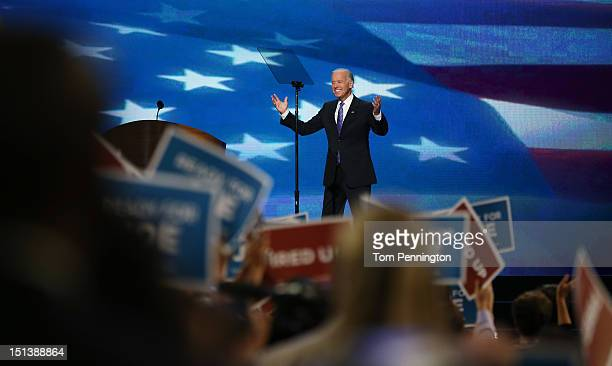 Democratic vice presidential candidate, U.S. Vice President Joe Biden walks on stage during the final day of the Democratic National Convention at...