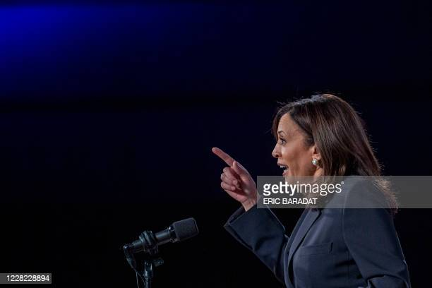 Democratic vice presidential nominee and Senator from California, Kamala Harris, speaks on the administration of US President Donald Trump failures...