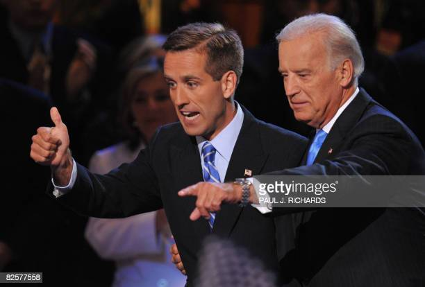 Democratic vice presidential nominee Joe Biden and his son Beau acknowledge the crowd during the Democratic National Convention August 27 2008 at the...