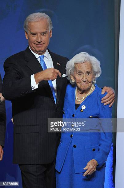 Democratic vice presidential nominee Joe Biden points to his mother Jean Finnegan Biden on stage during the Democratic National Convention 2008 at...