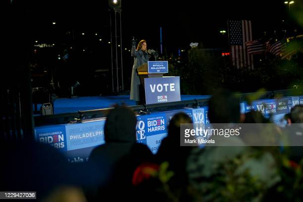 Democratic vice presidential nominee Sen. Kamala Harris addresses supporters at a drive-in election eve rally on November 2, 2020 in Philadelphia,...