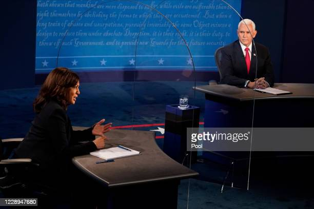 Democratic vice presidential nominee Sen. Kamala Harris and U.S. Vice President Mike Pence participate in the vice presidential debate at the...