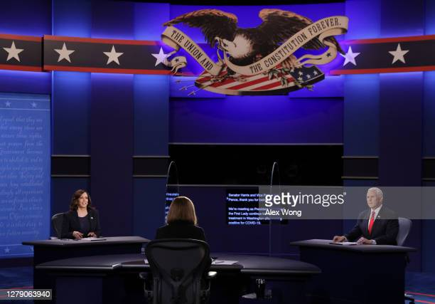 Democratic vice presidential nominee Sen. Kamala Harris and U.S. Vice President Mike Pence participate in the vice presidential debate moderated by...
