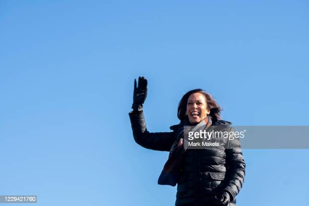 Democratic Vice Presidential Nominee Sen. Kamala Harris arrives at a drive-in rally on the eve of the general election on November 2, 2020 in...