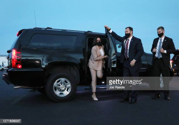 Democratic Vice Presidential Nominee Sen. Kamala Harris arrives to board her plane at the Miami International Airport after campaigning on September...