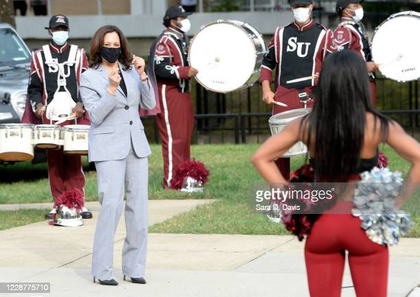 Democratic vice presidential nominee, Sen. Kamala Harris dances with the Shaw University cheerleaders and marching band on September 28, 2020 in...