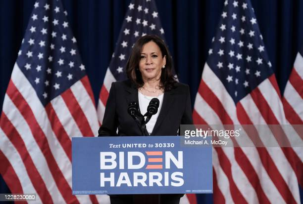 Democratic Vice Presidential nominee Sen. Kamala Harris , delivers remarks during a campaign event on August 27, 2020 in Washington, DC. Harris...