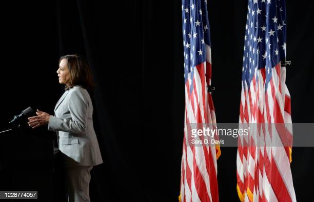 Democratic vice presidential nominee, Sen. Kamala Harris delivers remarks at Shaw University on September 28, 2020 in Raleigh, North Carolina....