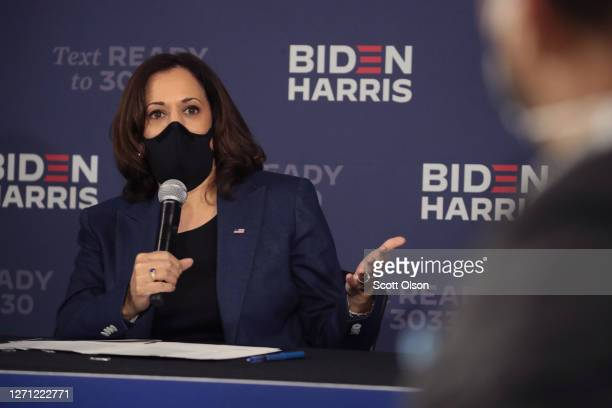 Democratic Vice Presidential Nominee Sen Kamala Harris participates in a roundtable event with Black business owners on September 7 2020 in Milwaukee...