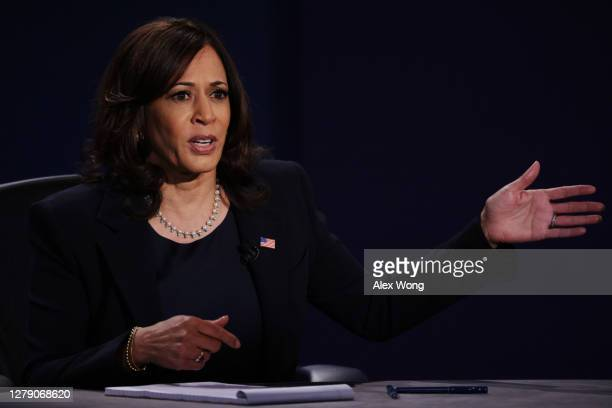 Democratic vice presidential nominee Sen. Kamala Harris participates in the vice presidential debate against U.S. Vice President Mike Pence at the...