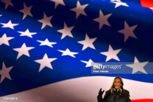Democratic vice presidential nominee Sen. Kamala Harris speaks at a drive-in election eve rally on November 2, 2020 in Philadelphia, Pennsylvania....