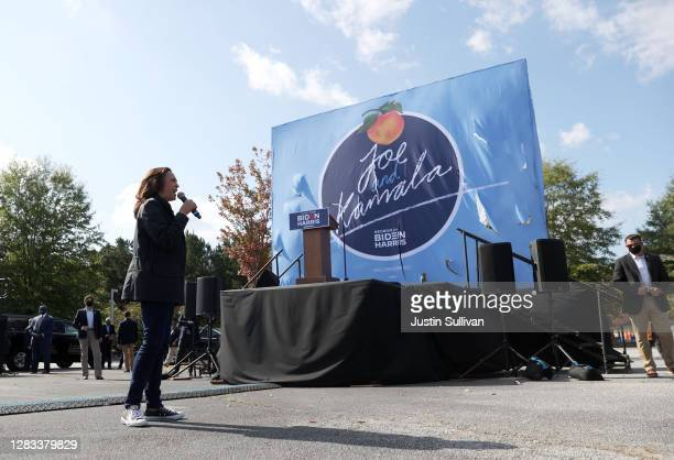 Democratic Vice Presidential Nominee Sen. Kamala Harris speaks during a drive-in campaign event at the Infinite Energy Center on November 01, 2020 in...