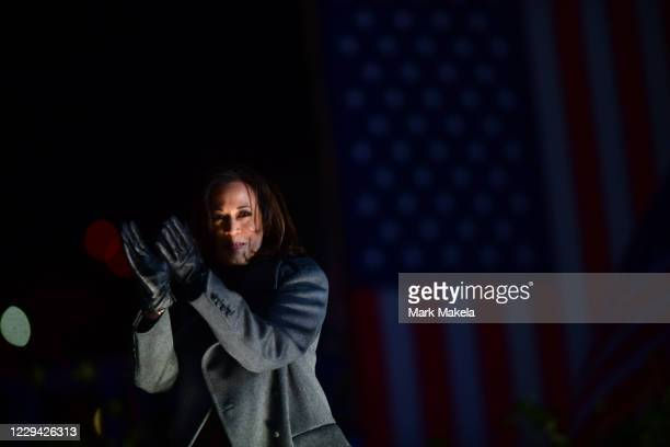 Democratic vice presidential nominee Sen. Kamala Harris takes the stage at a drive-in election eve rally on November 2, 2020 in Philadelphia,...
