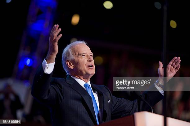 Democratic vice presidential nominee Senator Joseph Biden addresses the Democratic National Convention 2008 at the Pepsi Center in Denver Colorado