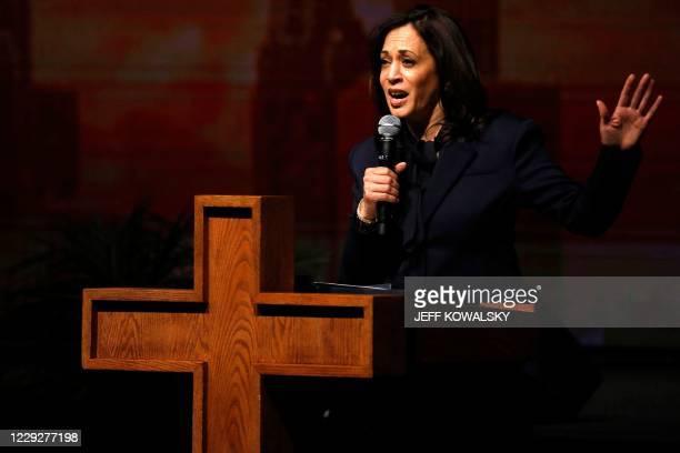 Democratic vice presidential nominee Senator Kamala Harris speaks at Triumph Church on October 25, 2020 in Southfield, Michigan. - As she speaks to...