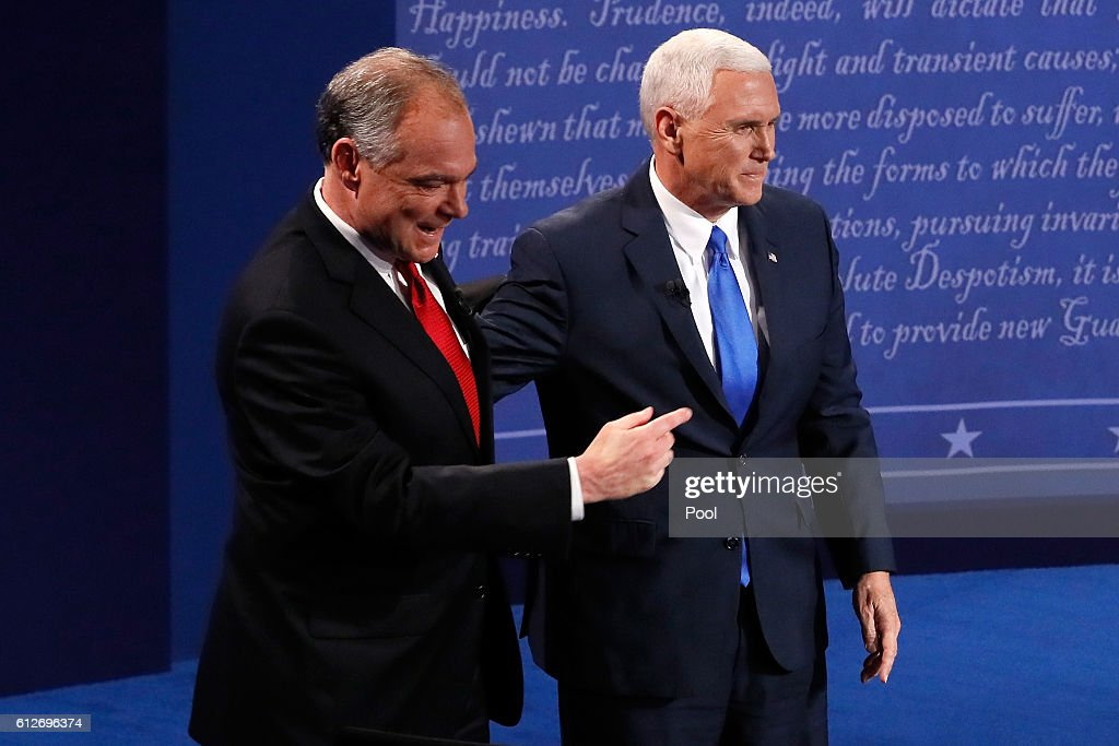 Vice Presidential Debate Between Gov. Mike Pence And Sen. Tim Kaine : News Photo