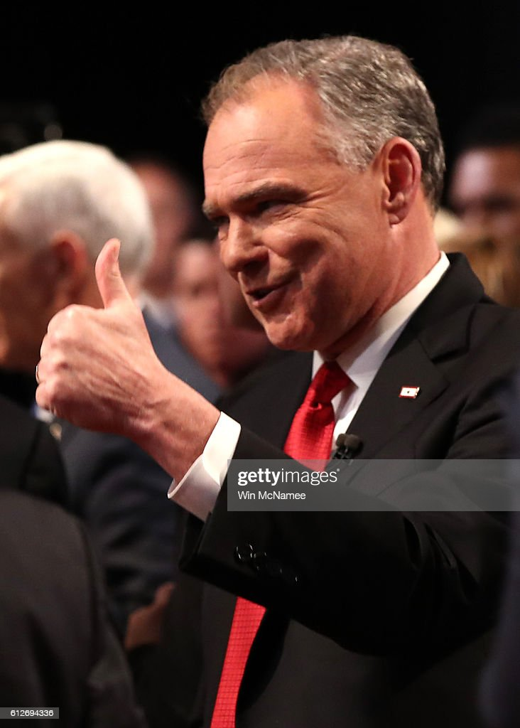 Democratic vice presidential nominee Tim Kaine gives a thumbs up following the Vice Presidential Debate with Republican vice presidential nominee Mike Pence at Longwood University on October 4, 2016 in Farmville, Virginia. This is the second of four debates during the presidential election season and the only debate between the vice presidential candidates.