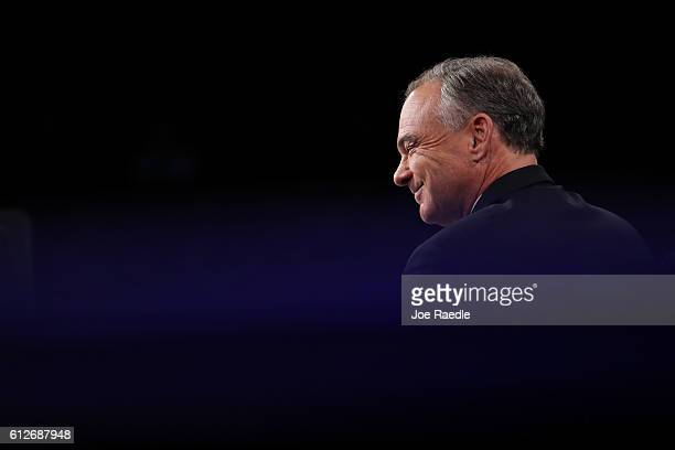 Democratic vice presidential nominee Tim Kaine smiles prior to the Vice Presidential Debate with Republican vice presidential nominee Mike Pence at...