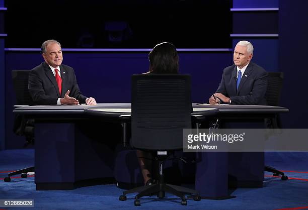Democratic vice presidential nominee Tim Kaine speaks as Republican vice presidential nominee Mike Pence and debate moderator Elaine Quijano listen...