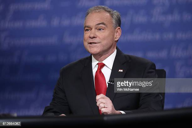 Democratic vice presidential nominee Tim Kaine speaks during the Vice Presidential Debate with Republican vice presidential nominee Mike Pence at...