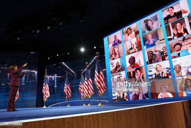 Democratic vice presidential nominee U.S. Sen. Kamala Harris interacts with viewers via a video conference on the third night of the Democratic...