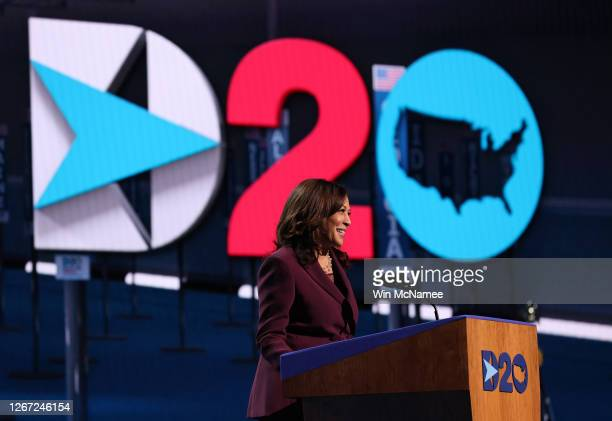 Democratic vice presidential nominee US Sen Kamala Harris speaks on the third night of the Democratic National Convention from the Chase Center...