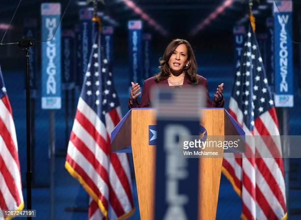 Democratic vice presidential nominee U.S. Sen. Kamala Harris speaks on the third night of the Democratic National Convention from the Chase Center...