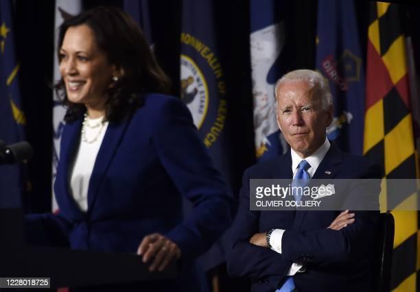 Democratic vice presidential running mate, US Senator Kamala Harris, speaks as Democratic presidential nominee and former US Vice President Joe Biden...