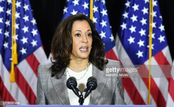Democratic vice presidential running mate, US Senator Kamala Harris, speaks to the press after receiving a briefing on COVID-19 in Wilmington,...