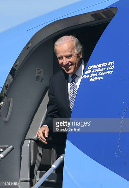 Democratic vicepresidential nominee Sen Joe Biden arrives at Tampa International Airport for a rally at the University of South Florida's Sun Dome in...