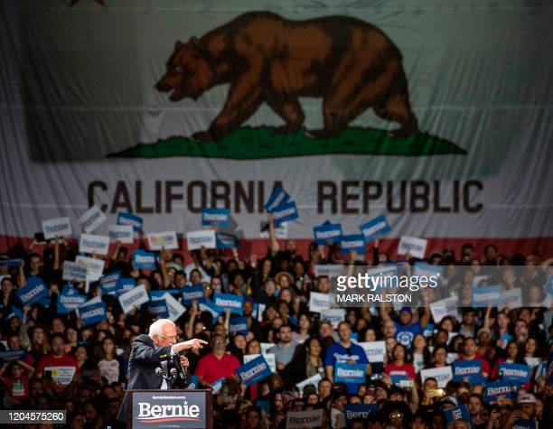 Democratic White House hopeful Vermont Senator Bernie Sanders speaks during a campaign rally at the Convention Center in Los Angeles, California on...