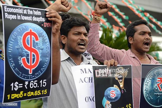 Democratic Youth Federation of India activists hold placards as they shout slogans during their protest over the rupee's fall in Hyderabad on August...