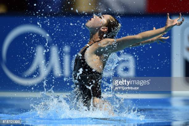 DemocraticPeople'sRepublicofKorea Min Hae Yon competes in the Women Solo free routine final during the synchronised swimming competition at the...