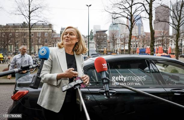 Democrats 66 party leader Sigrid Kaag arrives prior to a meeting of D66 in the Thorbeckezaal in The Hague, on March 18 the day after the...