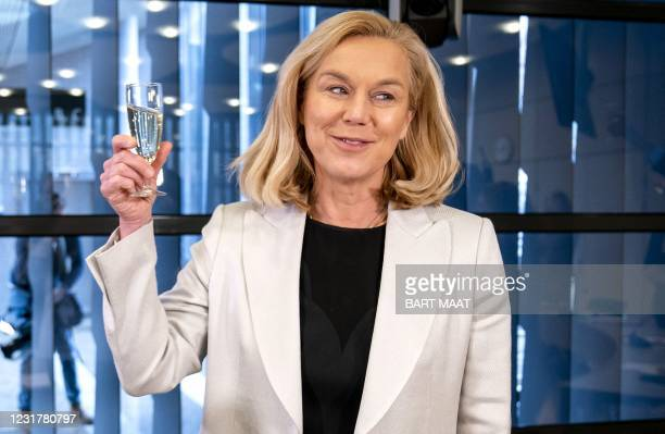 Democrats 66 party leader Sigrid Kaag reacts to the press at a meeting of D66 in the Thorbeckezaal in The Hague, on March 18 the day after the Dutch...